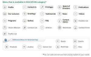 menu pada aplikasi online kategori pendidikan