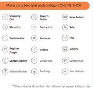 menu pada aplikasi android & IOS online shop
